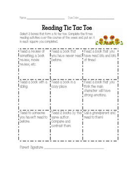 May Reading Homework Tic Tac Toe Reading Log