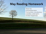 May Reading Homework and Test Preparation
