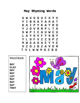 May Rhyming Words Word Search AY Ending