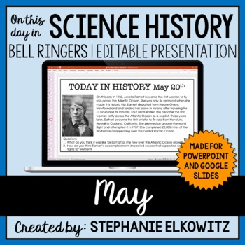 May Science History Bell Ringers (Paperless & Editable)