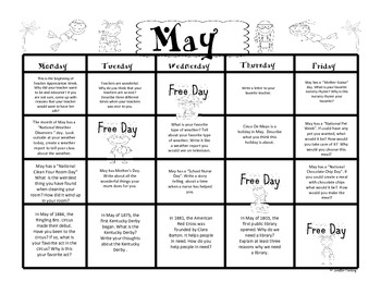 May Second Grade Writing Prompts and Journal Pages (Common Core Aligned)