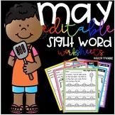 May Sight Word Worksheets-Editable