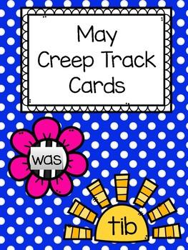 May Sight Word and Nonsense Words Creep Track Cards
