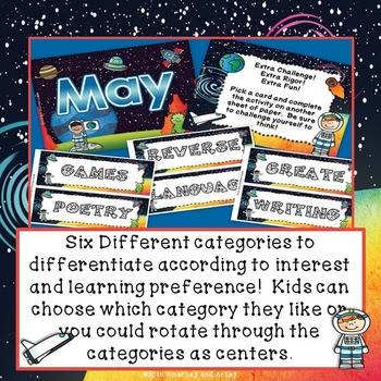May Space Task Card Choice Board for Fast Finishers
