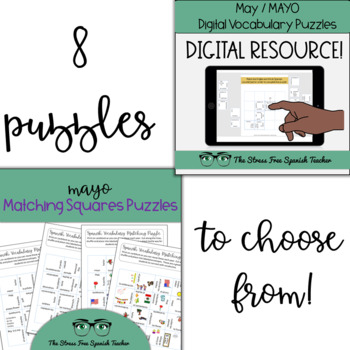 May Spanish BUNDLE 2 Word Wall, Comprehensible Input Reading Practice & Puzzles!