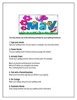 May Spelling Activities