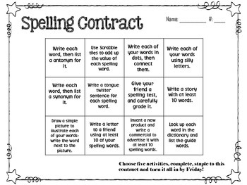 May Spelling Contracts-5 Weeks
