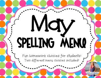 May Homework: Spelling Menu!