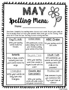 May Spelling Menu (NO PREP!)