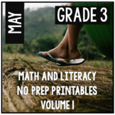 May Spring Summer Third Grade Math and Literacy NO PREP Common Core Aligned