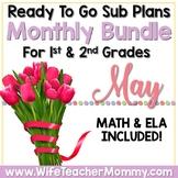 May Sub Plans 1st 2nd Grade Math & ELA Mini Bundle