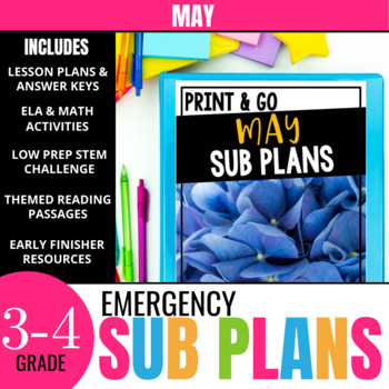 May Sub Plans for 3rd & 4th Grade: Ready-to-use lesson plans & activities