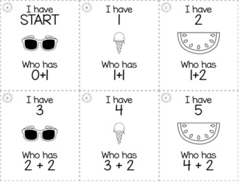 "May Summer 1st Grade ""I Have, Who Has"" Math Game Bundle"