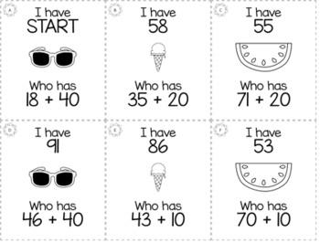 "May Summer 1st Grade ""I Have, Who Has"" Math Game Bundle"