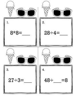 May Summer 3rd Grade {Scoot Game/Task Cards} Math Bundle