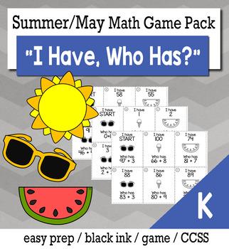 "May Summer Kindergarten ""I Have, Who Has"" Math Game Bundle"
