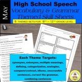 High School Speech Therapy  Vocabulary and Grammar Skill Sheets ~ May Set