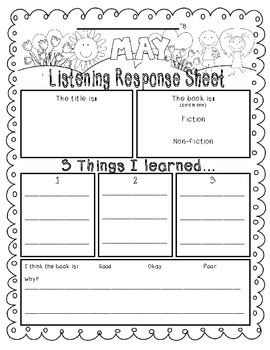 May-Themed {Differentiated} Listen to Reading Response Sheets--FULL version