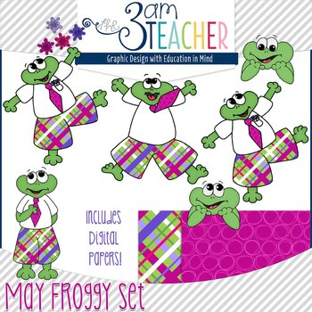 May Themed Froggy Clipart Set