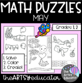May Themed Math Puzzles - Color by Sum and Difference