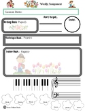 May Themed Piano Lesson Assignment Sheet