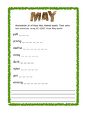 May Themed Word Unscramble