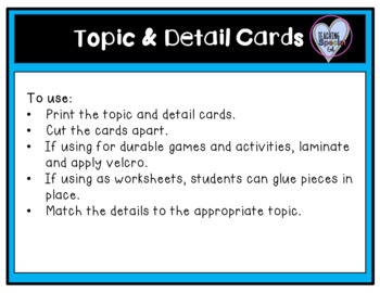 May Topic and Detail Cards