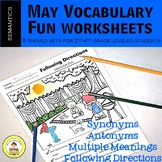 May Vocabulary -Synonyms, Antonyms, Multiple Meanings, Fol