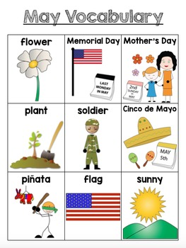 May Vocabulary Unit for Early Elementary or Students with Special Needs