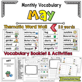 May Vocabulary Word Wall, Booklet, Writing Activities and BINGO
