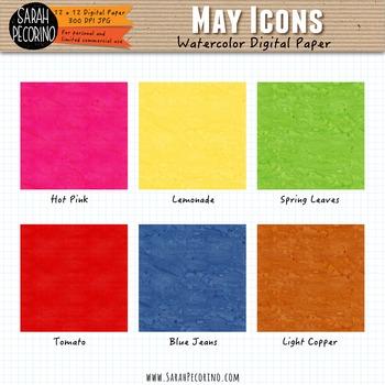 May Watercolor Digital Papers