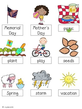 May Word Cards and Word Walls {in English and Spanish}