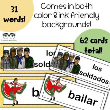 May Word Wall Cards, Spanish version - Cinco de Mayo, Dia de los Caidos
