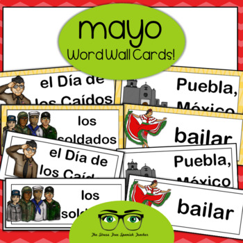 May Word Wall Cards, Spanish version - Cinco de Mayo, Dia de los Caidos