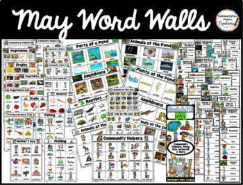 May Word Walls: Zoo, Pond, Fruit, Vegetables, Baseball, Community Helpers