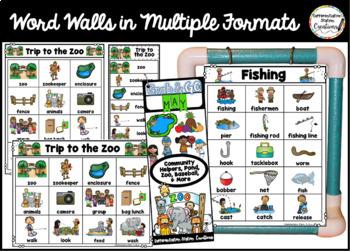 May Word Walls: Zoo, Pond, Fruit, Vegetables, Baseball, Community Helpers