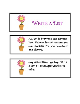 May Write a List