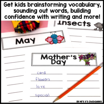 May Writing Activity: Brainstorming Organizer and List Making Paper