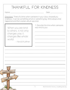 May Writing Activity | Thankful for Kindness Writing | Summer Writing