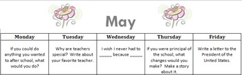 May Writing Calendar