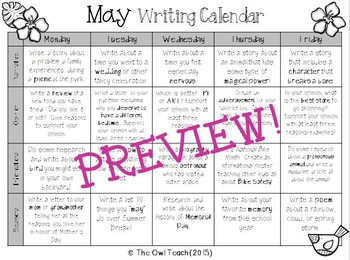 Writing Calendar:  20 Prompts for the Month of May