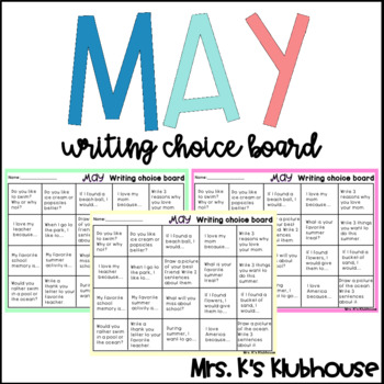 May Writing Choice Board