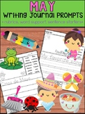May Writing Journal Prompts -  SET 2 : No Prep, Beginner Writers, Spring