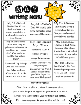 May Writing Menu with Graphic Organizers & Publishing Paper! Freebie Inc.!