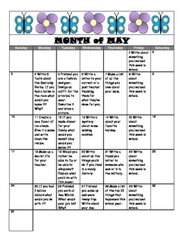 May Writing Prompt Calendar