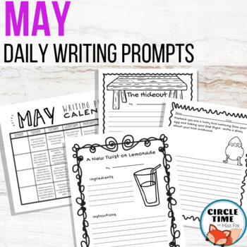 May Writing Prompts, Monthly Writing Prompt Calendar, Writing May