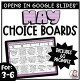 May Writing Prompts   Digital Writing Choice Boards