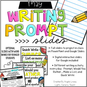May Writing Prompts: Google Slides, PowerPoint, & Interact
