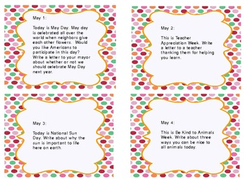 May Writing Prompts- for Intermediate Grades!