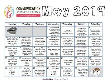 2017 May is Better Hearing and Speech Month: Calendar & Activities ~  {FREEBIE}